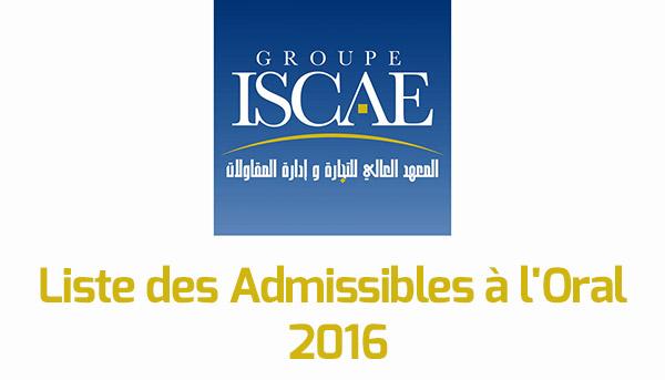 r u00e9sultats iscae 2016   liste des admissibles  u00e0 l u0026 39 oral